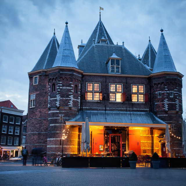 """""""The Waag on Nieuwmarkt Square at Dusk in Amsterdam"""" stock image"""