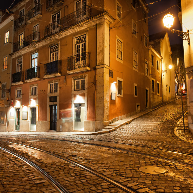 """""""Lisbon Streets at Night in Portugal"""" stock image"""