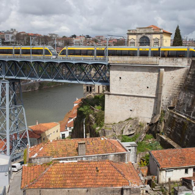 """""""Metro on Dom Luis I Bridge in Porto"""" stock image"""