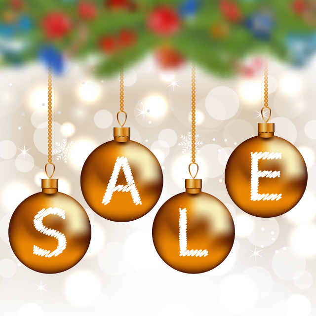 """""""Brown glossy balls with lettering sale, Christmas decoration"""" stock image"""