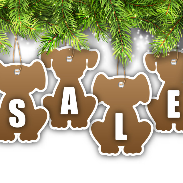 """""""Wallpaper with Fir Branches and Stickers Dog, Sale Tags, Offers, Discounts"""" stock image"""