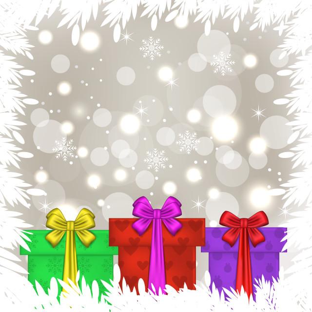 """Set Christmas gift boxes on glowing background"" stock image"