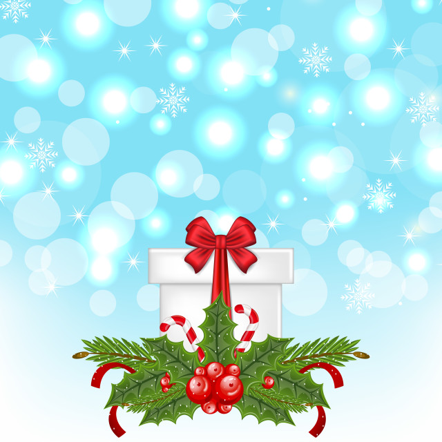 """""""Christmas gift box with holiday decoration"""" stock image"""