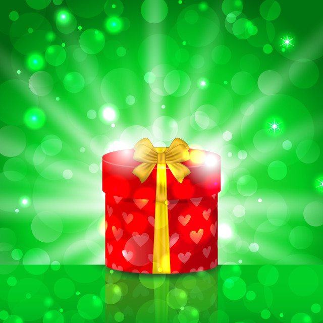 """""""Christmas round gift box on light background with glow"""" stock image"""