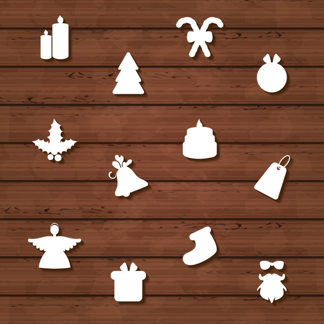 """""""Set Christmas design elements on wooden texture"""" stock image"""