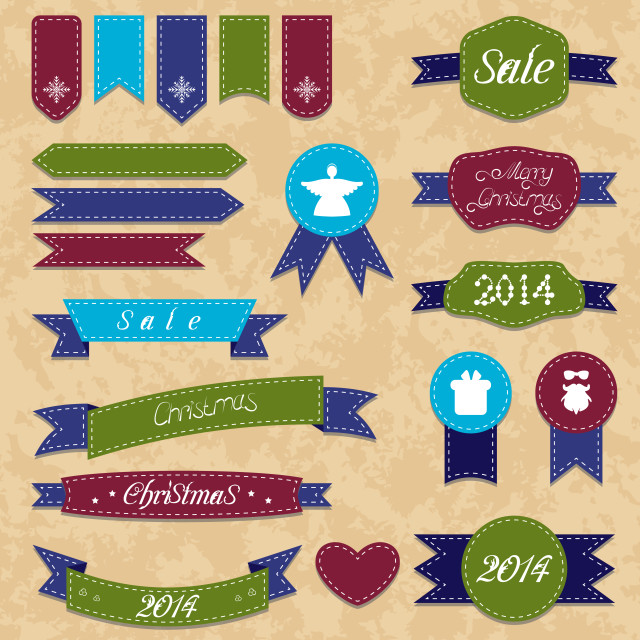 """Christmas set geometric emblems and ribbons"" stock image"