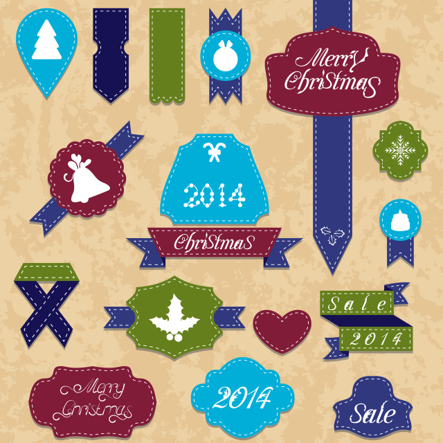 """""""Christmas set variation labels and ribbons"""" stock image"""