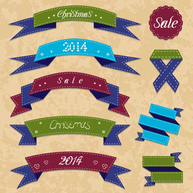 """""""Christmas collection variation labels and ribbons"""" stock image"""
