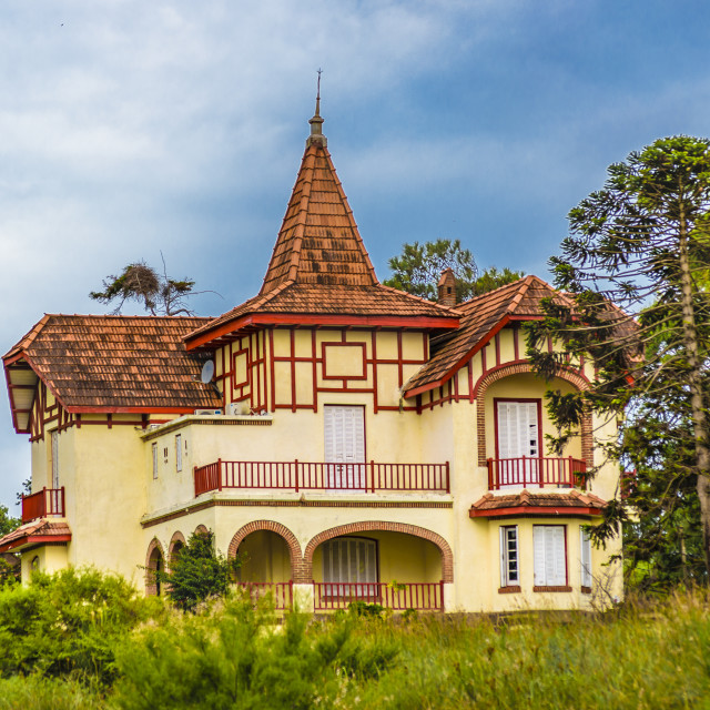 """""""Eclectic Style Chalet Exterior Facade"""" stock image"""
