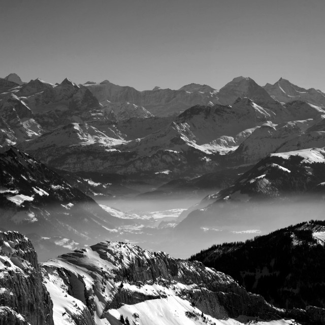 """View of the Alps from the summit of Mount Pilatus Kulm mountain range,..."" stock image"