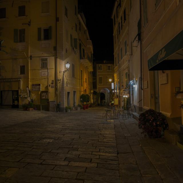 """Bordighera by night."" stock image"