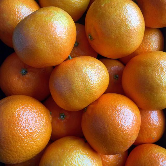"""""""Closeup view of ripe satsumas"""" stock image"""
