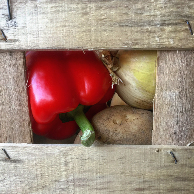 """Seasonal vegetables in a wooden tray"" stock image"