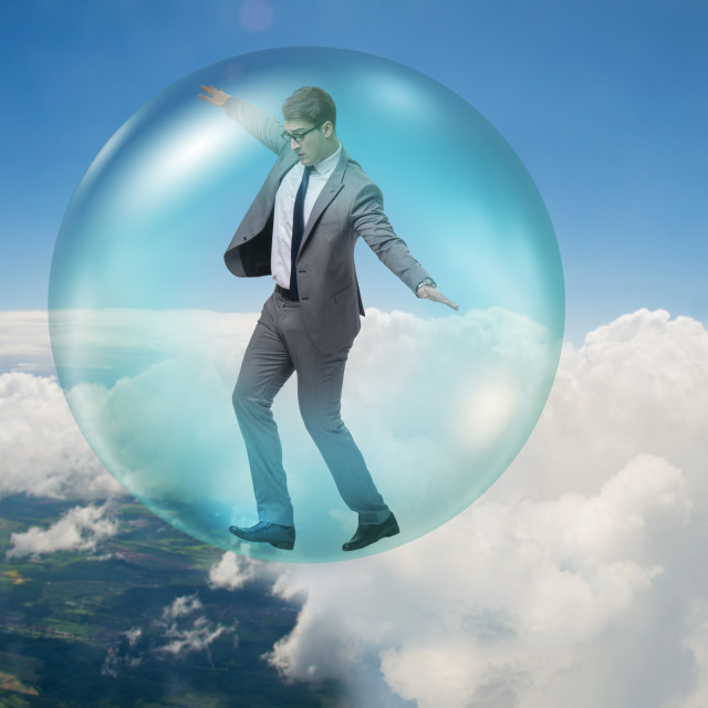 """""""Businessman flying inside the bubble"""" stock image"""
