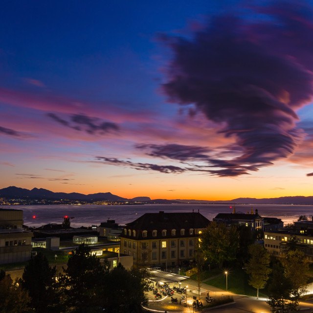 """""""Stormy sky at sunset. Lausanne city"""" stock image"""