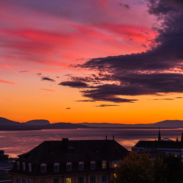 """""""Sunset and big cloud. City of Lausanne"""" stock image"""