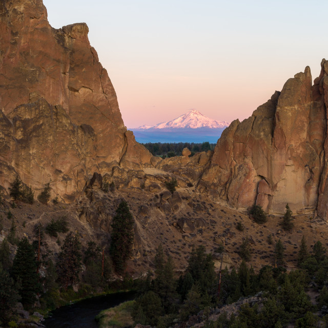 """Mount Jefferson Sunrise Glow at Smith Rock State Park"" stock image"