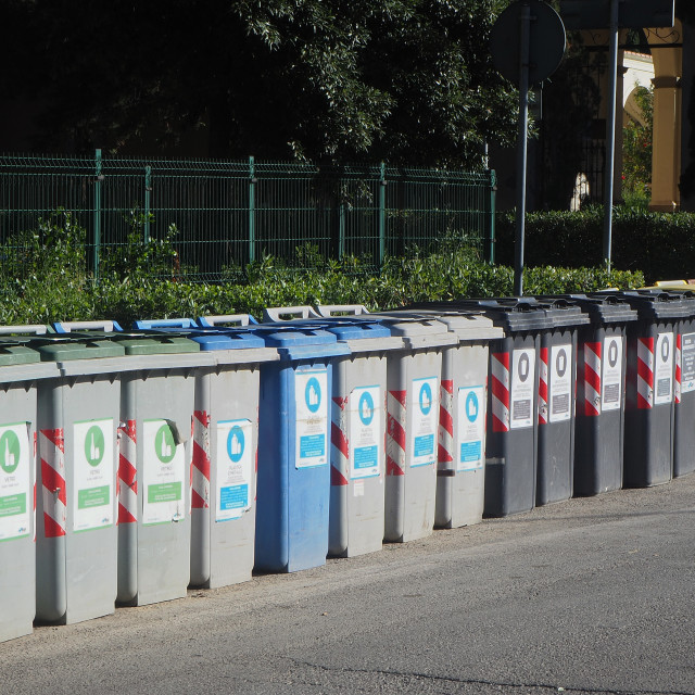 """""""Recycling bins in the town of Marciana Marina."""" stock image"""