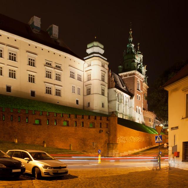 """Wawel Royal Castle at Night in Krakow"" stock image"