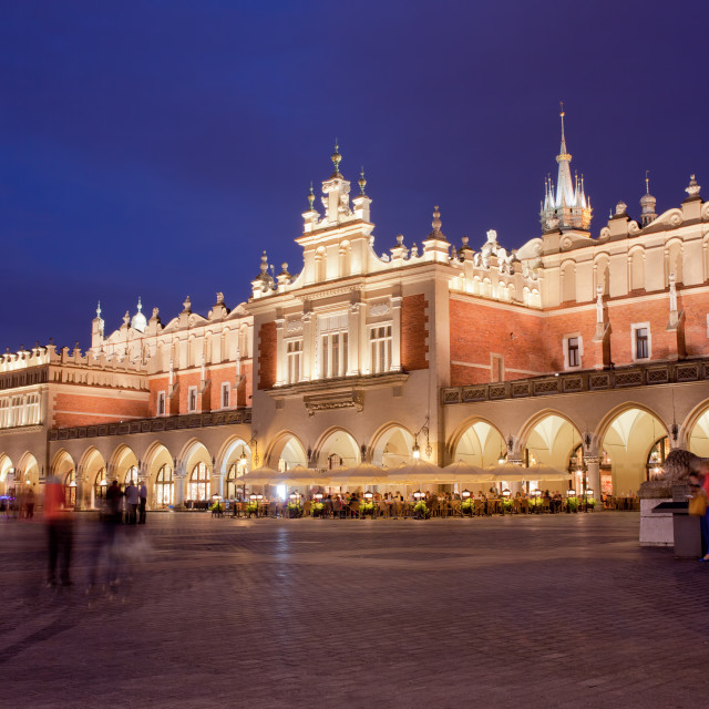 """""""Cloth Hall in the Old Town of Krakow at Night"""" stock image"""