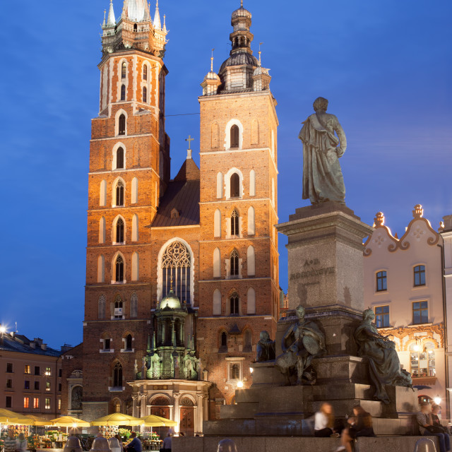 """""""St Mary Basilica and Adam Mickiewicz Monument at Night in Krakow"""" stock image"""