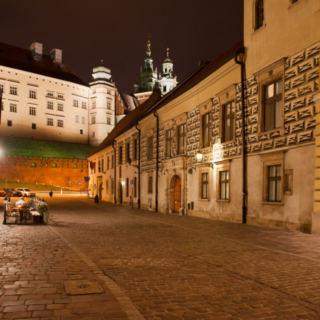 """Kanonicza Street in Krakow at Night"" stock image"
