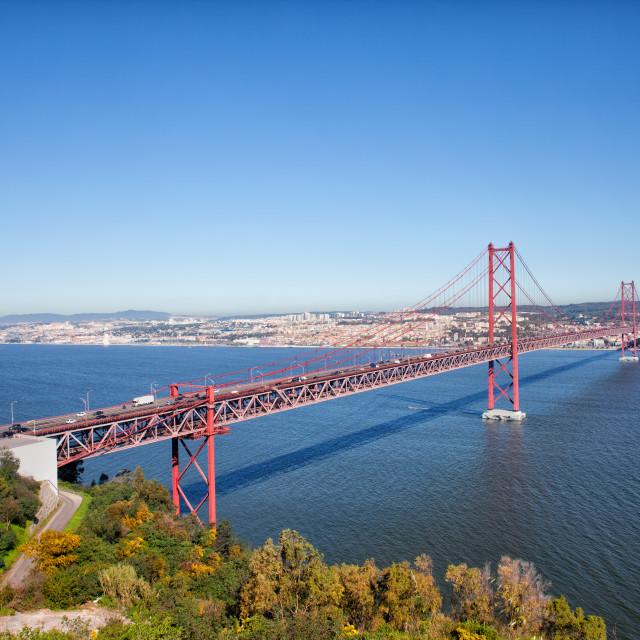"""""""25 de Abril Bridge in Portugal"""" stock image"""