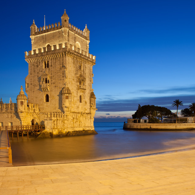 """""""Belem Tower at Night in Lisbon"""" stock image"""