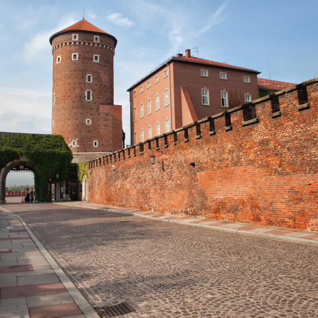 """""""Sandomierska Tower and Wawel Castle wall in Krakow"""" stock image"""