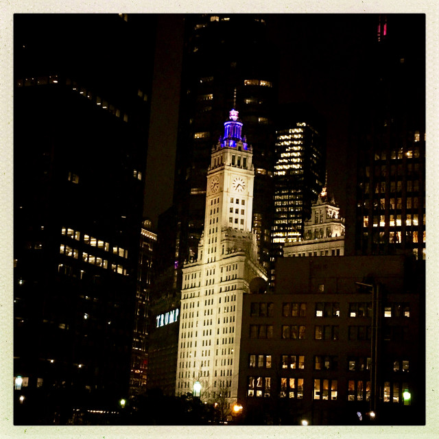 """""""Chicago's Wrigley building at night"""" stock image"""