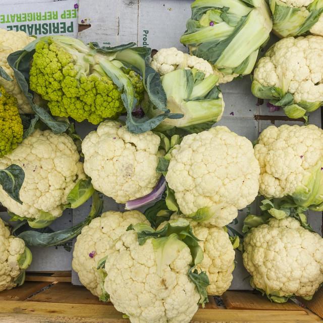 """Cauliflower in wooden box"" stock image"
