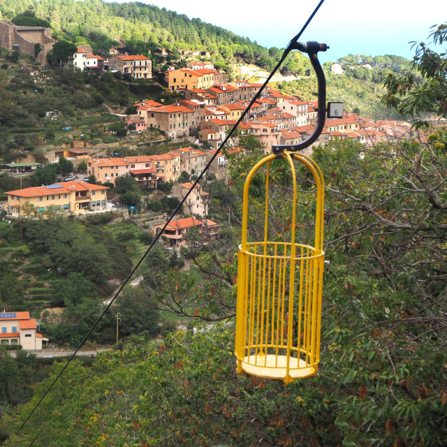 """""""The village of Marciana from the Monte Capanne cablecar"""" stock image"""