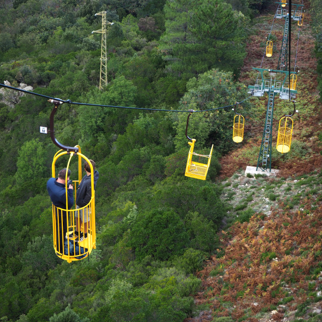 """""""The Monte Capanne, Cablecar, Marciana, Elba, Italy"""" stock image"""