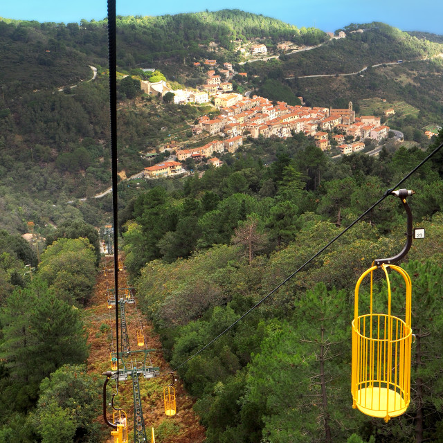 """""""The Monte Capanne cablecar, Marciana, Elba, Italy"""" stock image"""