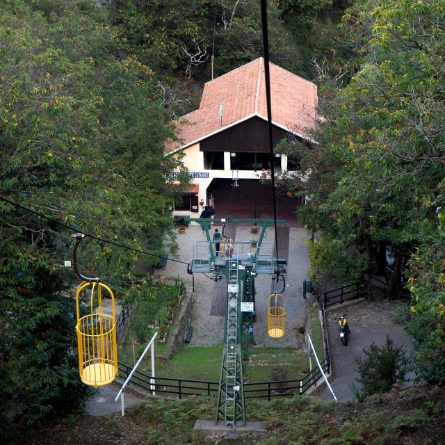 """""""The Monte Capanne cablecar, Elba, Italy"""" stock image"""