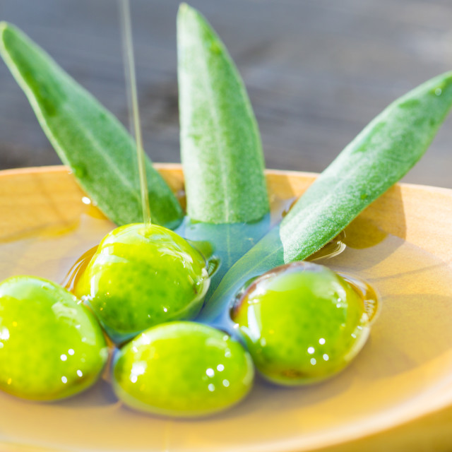 """Olives on oil"" stock image"