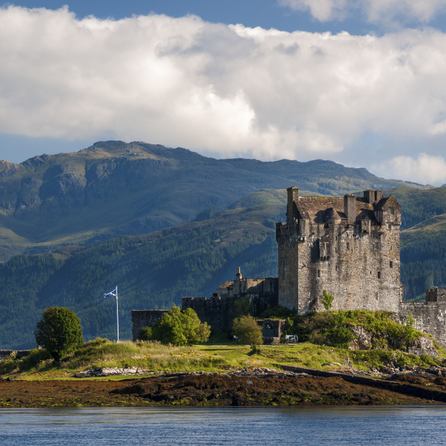 """View of the Eilean Donan Castle in the Highlands of Scotland, United Kingdom; Concept for travel in Scotland"" stock image"