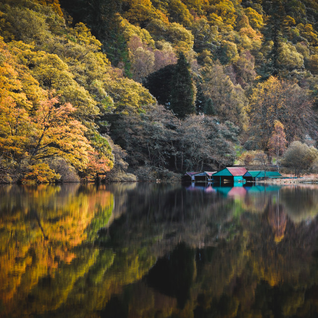 """Reflections on Loch Ard"" stock image"