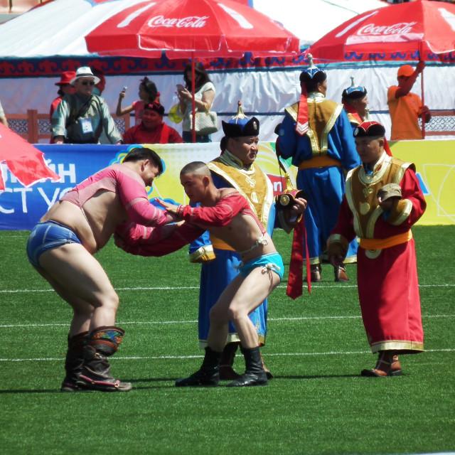 """Wrestlers, Naadam Festival"" stock image"