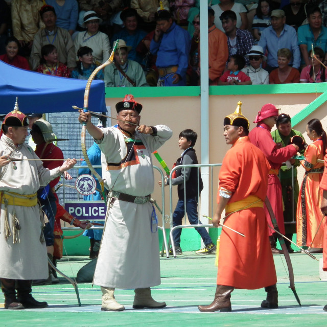 """Archers at Naadam festival"" stock image"