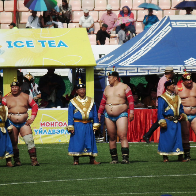"""Wrestlers at the Naadam Festival"" stock image"