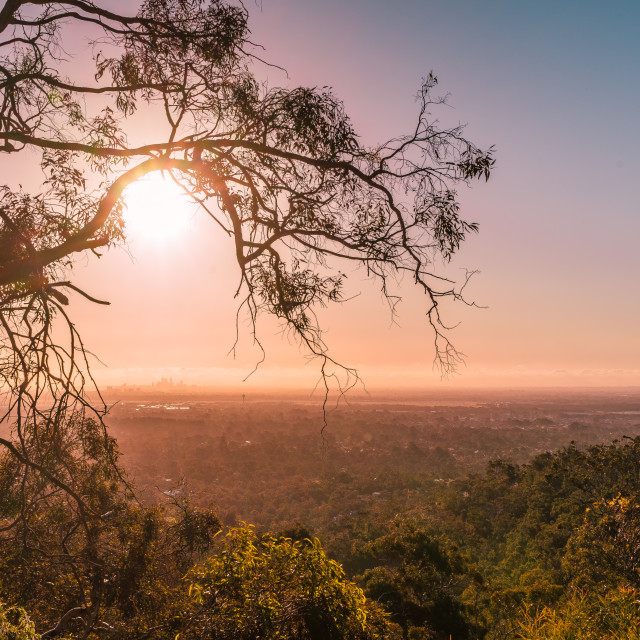 """""""Perth City View from the Hills"""" stock image"""