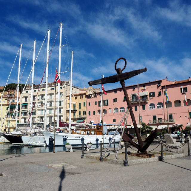 """The marina in the town of Portoferraio, Elba, Italy"" stock image"