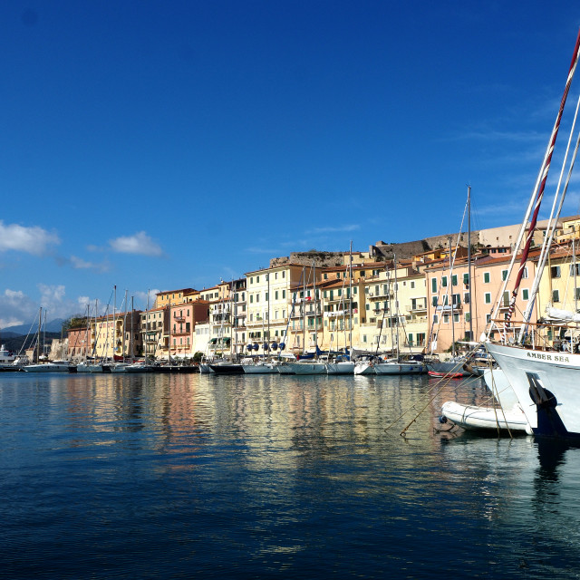 """The marina in the town Portoferraio, Elba, Italy"" stock image"