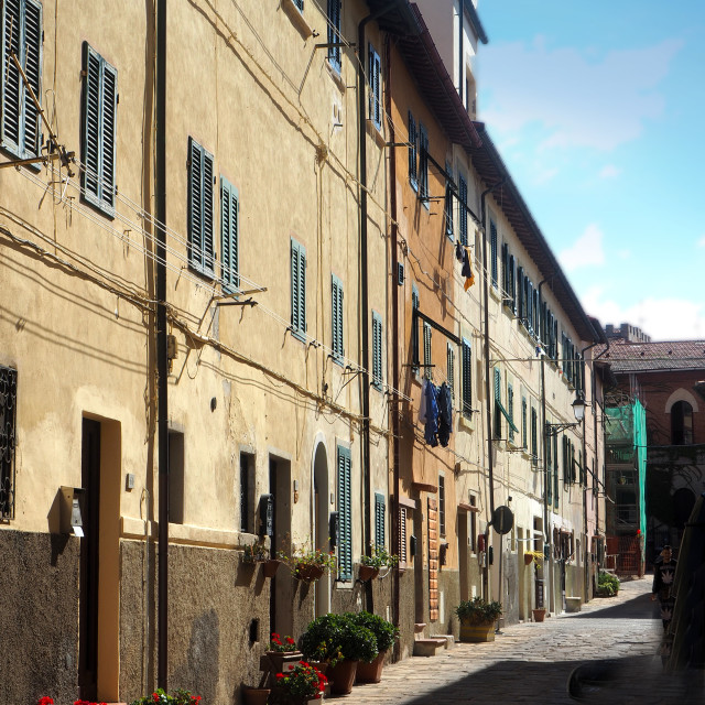 """Old houses in the town of Portoferraio, Elba, Italy"" stock image"