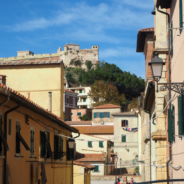 """A view of the town of Portoferraio, Elba, Italy"" stock image"