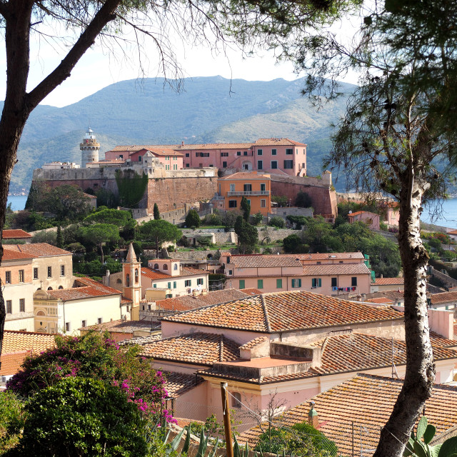 """A view of the town of Portoferraio, Elba, Italy."" stock image"