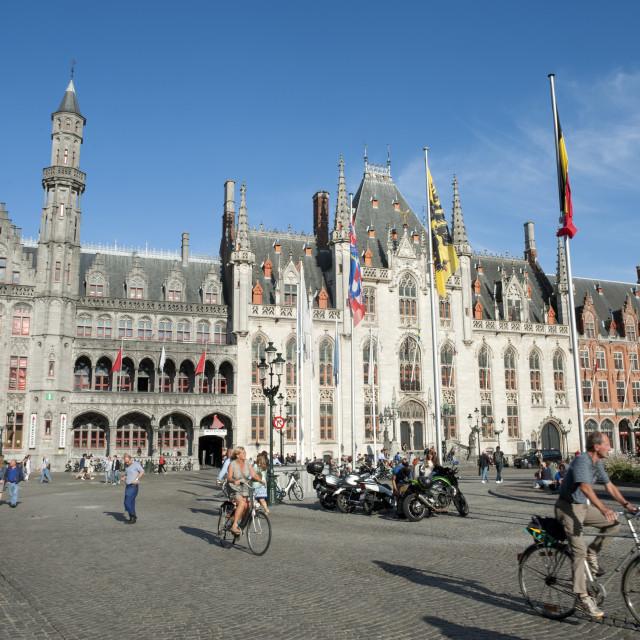 """""""Brugge (Bruges) Belgium. Markt, Market Square, Provincial Court (Hof) building."""" stock image"""