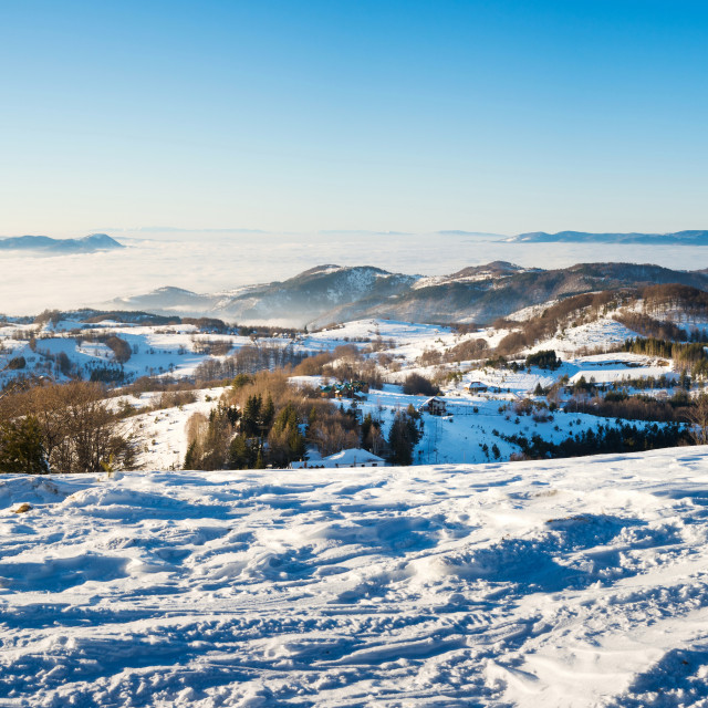 """Winter landscape with snow covered mountain"" stock image"