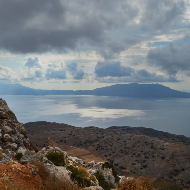 """""""Panorama of the ocean and mountains"""" stock image"""
